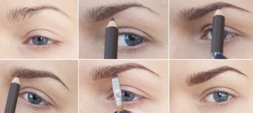 как накрасить брови карандашом фото